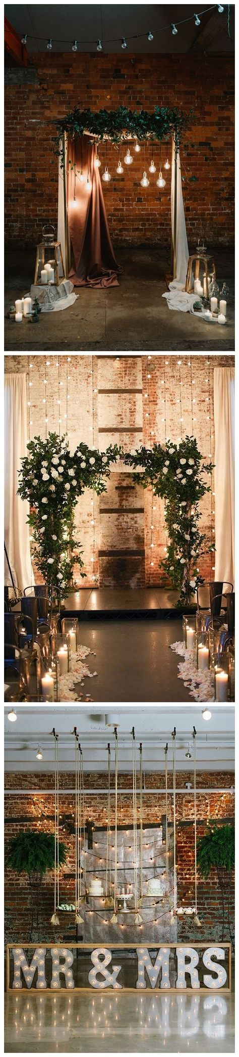 Wedding decorations stage backdrops october 2018  Industrial Loftstyle Wedding Ceremony Backdrop Ideas  Rustic