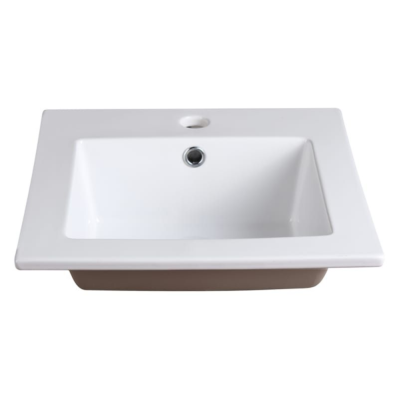 Fresca Fvs8118wh White Allier 16 1 4 Ceramic Drop In Vanity Top With An Integrated Sink Single Faucet Hole And Overflow Ceramic Bathroom Sink Drop In Bathroom Sinks Rectangular Sink Bathroom