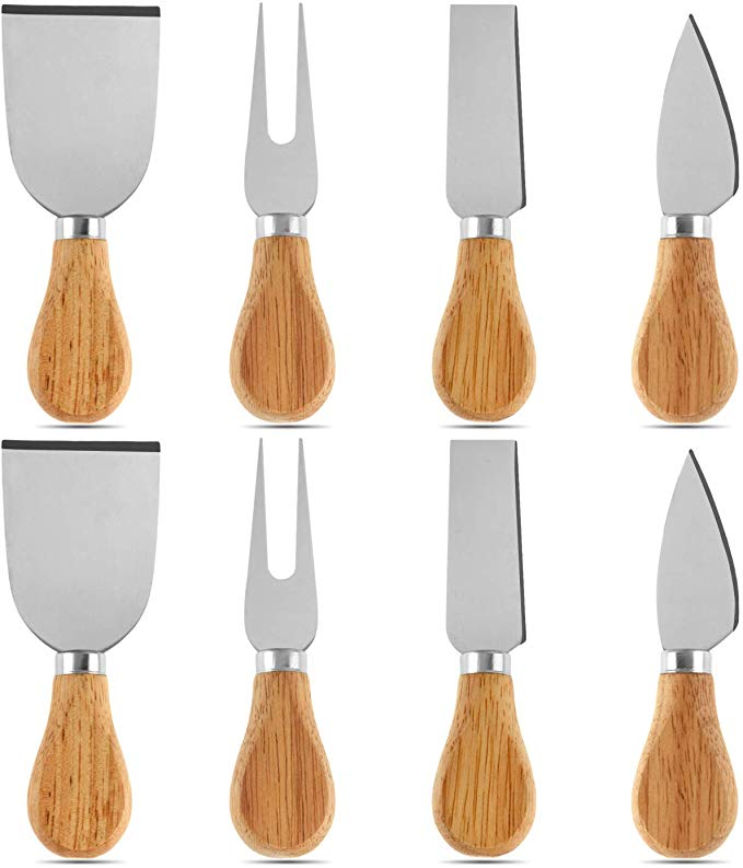 8 Pieces Cheese Knives Set with Bamboo Wood