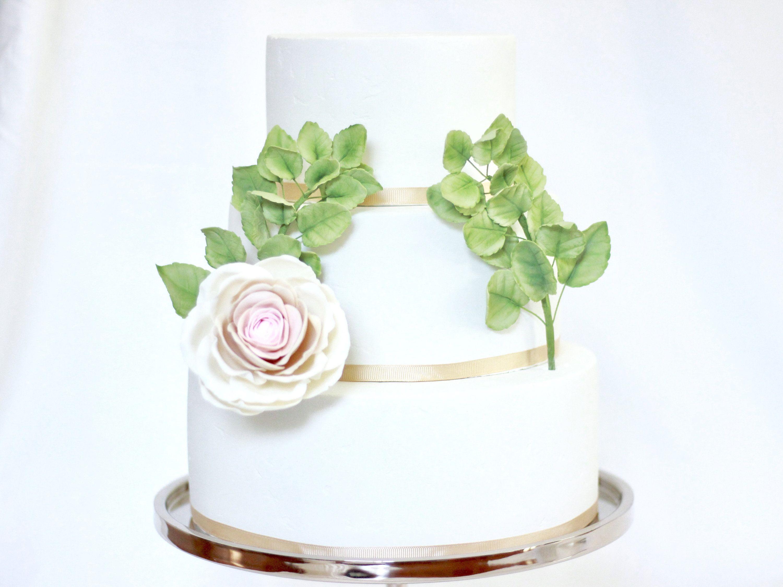 Sugar Rose Leaves For Sugar Flowers Wedding Cake Topper 2 Etsy Flower Cake Decorations Sugar Flowers Cake Sugar Flower Wedding Cake