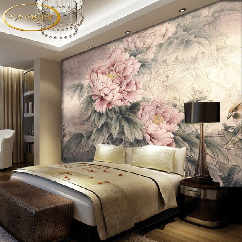 goedkope custom 3d foto behang pioen bloemen en vogels behang