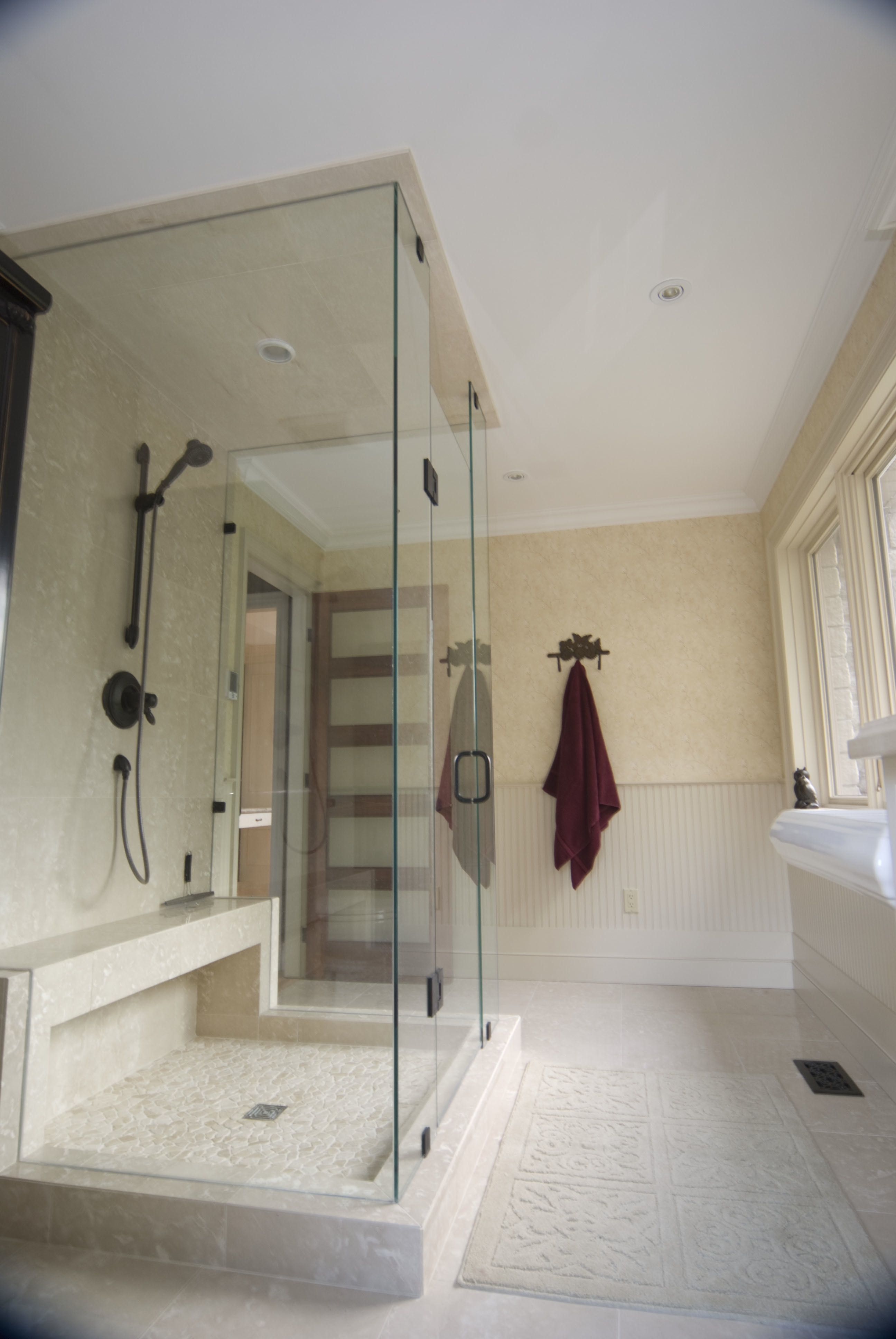 Glass Shower Enclosure With Pebble Base And Built In Bench Custom