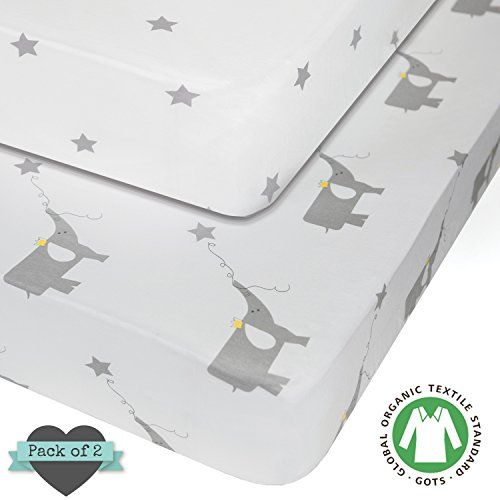 100 Organic Jersey Cotton Crib Fitted Sheets 2pk Unisex Baby Shower Gifts For Boys Crib Bedding Girl Elephant Nursery