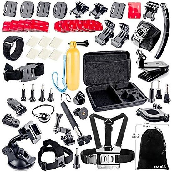 BAXIA Accessories Kit for GoPro HERO 5 4 3 2 1 Session Cameras - Black Silver #BAXIATECHNOLOGY