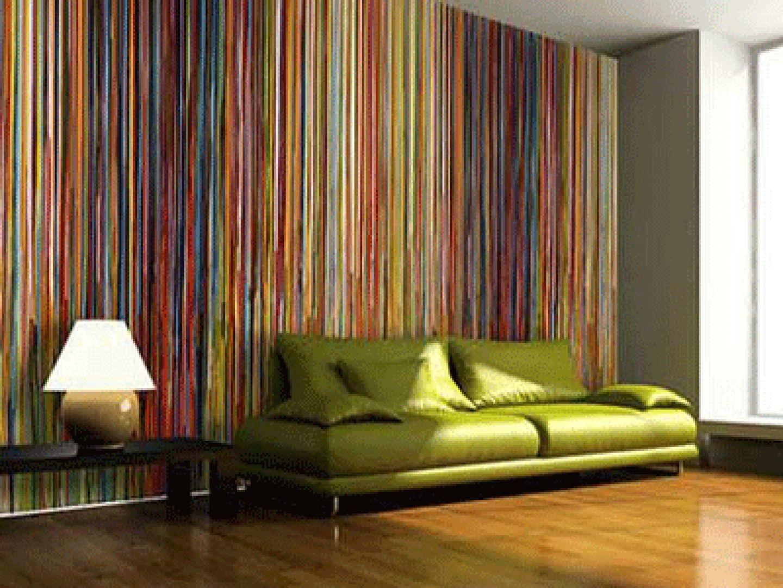 Wallpaper For Modern Home Interiors Living Room Decorating Ideas Modern Living Room Interior Striped Wallpaper Living Room Interior Design Living Room