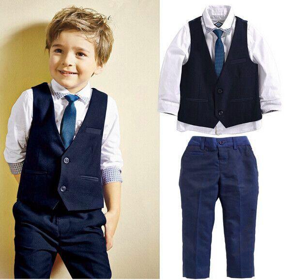 Necktie Pants Set Kids Clothes Outfits 4PCS Baby Boys Dress Suit Vest Shirt
