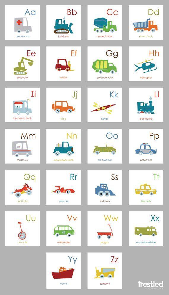 8x8 Bedroom Design: Kids Room Wall Art, Vehicle Alphabet, Alphabet Border