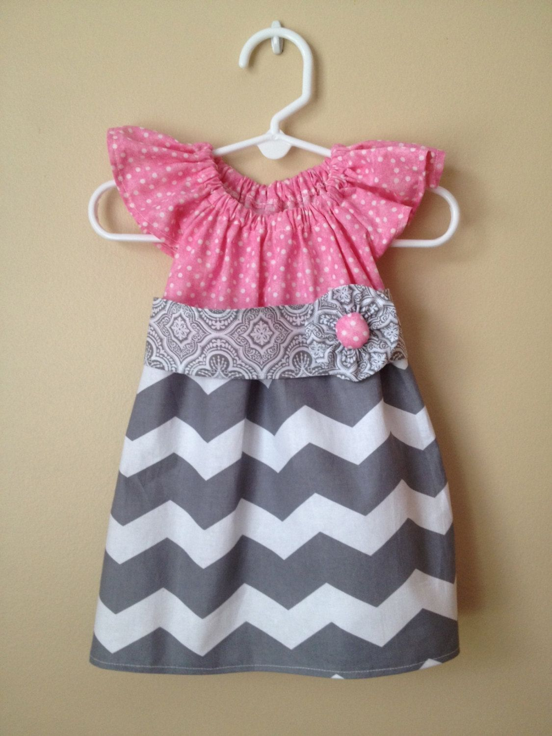 Baby Girl Pink Polkadot and Gray Chevron Ruffle Sleeve Dress with ...