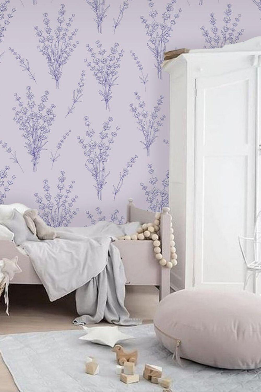 Purple Mermaid Wallpaper Self Adhesive Wallpaper Wall Etsy Modern Wallpaper Designs Grey Wallpaper Bedroom Removable Wallpaper