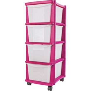 Buy  Drawer Plastic Storage Tower Pink At Argos Co Uk Your