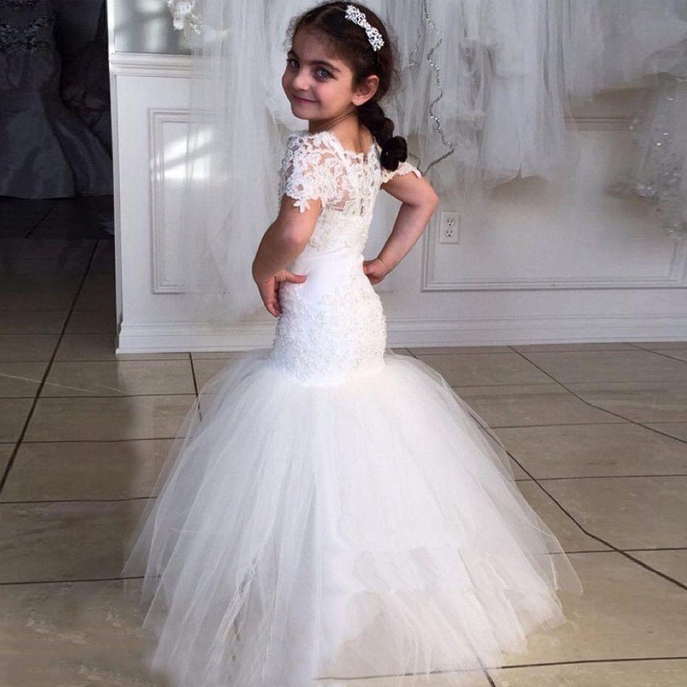 White Lace Flower Girl Dresses For Wedding 2017 Mermaid Floor-Length ...