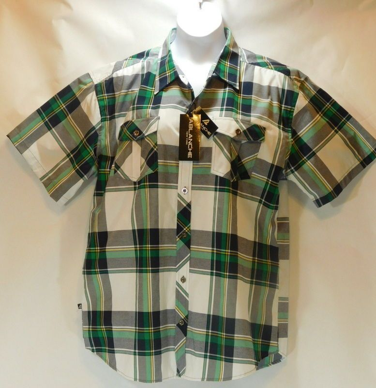 NWT 2XL Ablanche New York Men's Short Sleeve Button Front Green ...