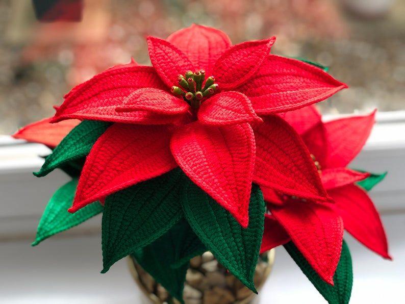 Crochet Poinsettia Christmas Flower Crochet Poinsettia Etsy In 2020 Crochet Flowers Crochet Patterns Crochet Rose Pattern