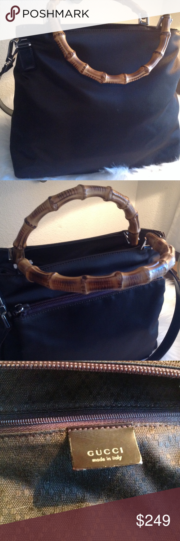 Gucci Bamboo Tote Very Clean Brown  Nylon Exterior Bamboo  Carrying Handles  Lea…