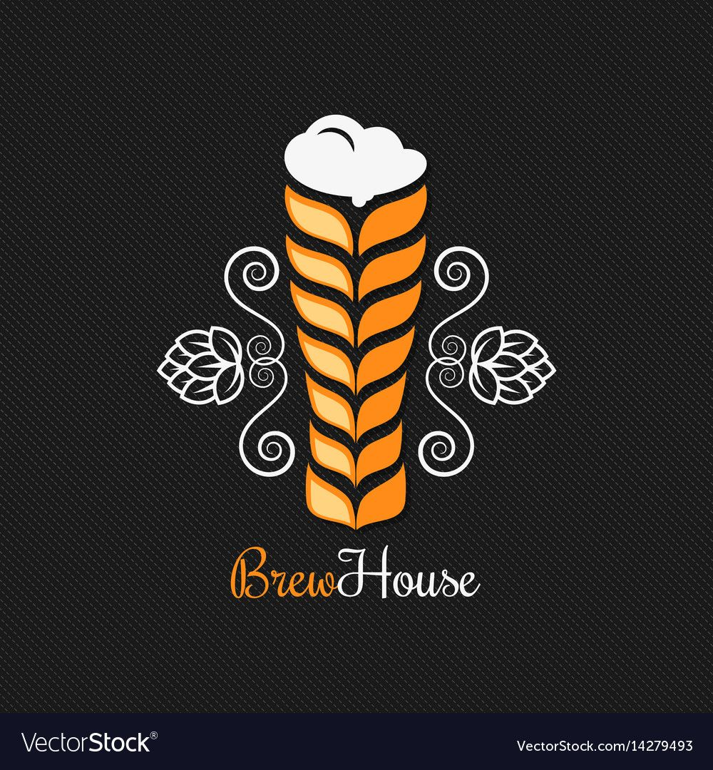Beer glass logo design background Royalty Free Vector