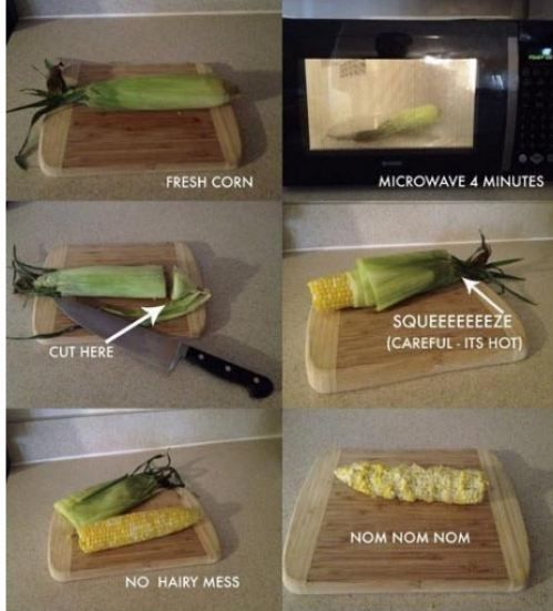cook corn on the cob in the microwave and it works. Comes out clean. No silks yeah!