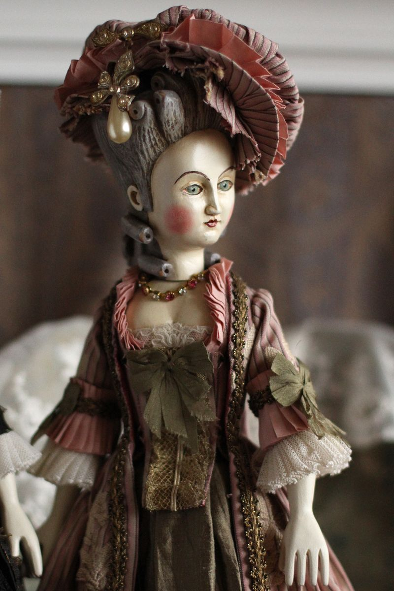 "Artist wooden handmade antique style doll, French Court replica doll, vintage look collection pandora 14"" doll, Cloth fashion doll TO ORDER #historicaldollclothes"