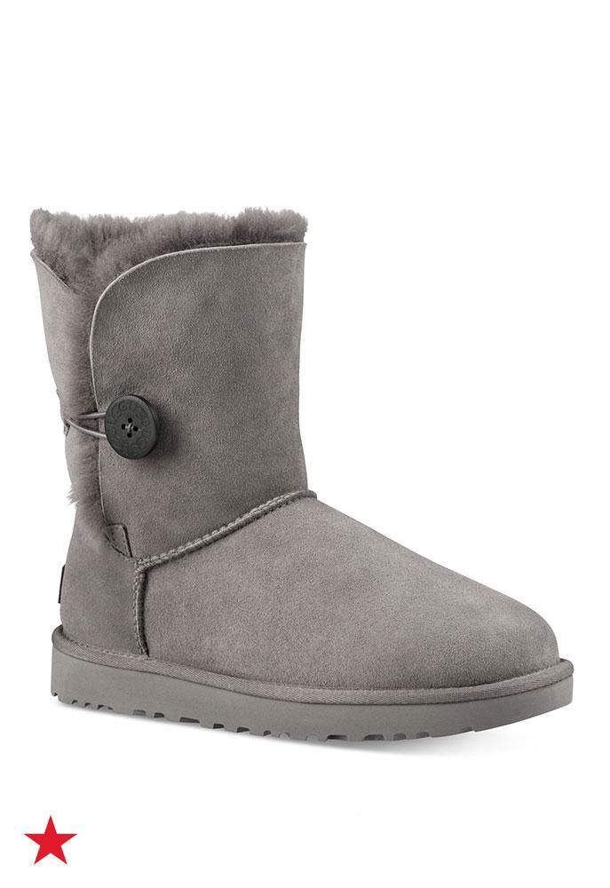 Complete your winter outfit with these grey UGG boots with a cute button detail. Dress them up with a cute sweater dress or down with your fave pair of jeans and turtleneck sweater—available now at Macy's!