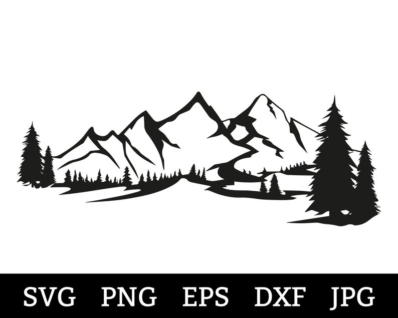Mountain Svg Dxf Mountain Forest Svg Pine Trees Pacific Northwest Cut Files Camping Svg Outdoors Cricut Silhouette Trees Ca3192 Vozeli Com