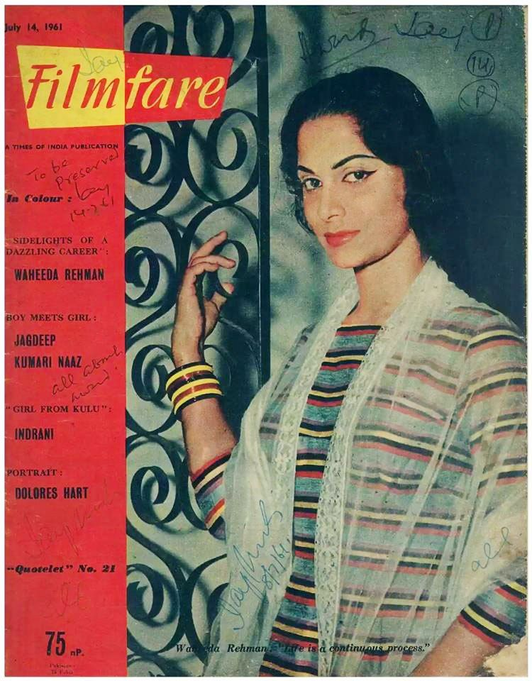 Filmfare: 50 - 60 | Waheeda rehman, Bollywood pictures, Vintage film