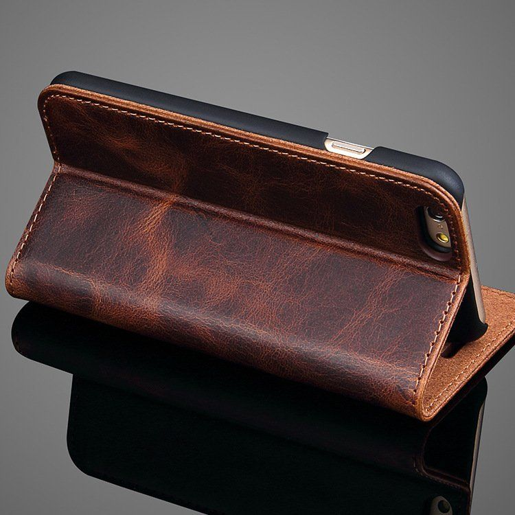 Fancy - Crazy Horse Leather iPhone Wallet Case