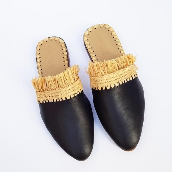 e32ffc8e99c76 Raffia shoes handmade slippers summer mules Moroccan shoes High end ...