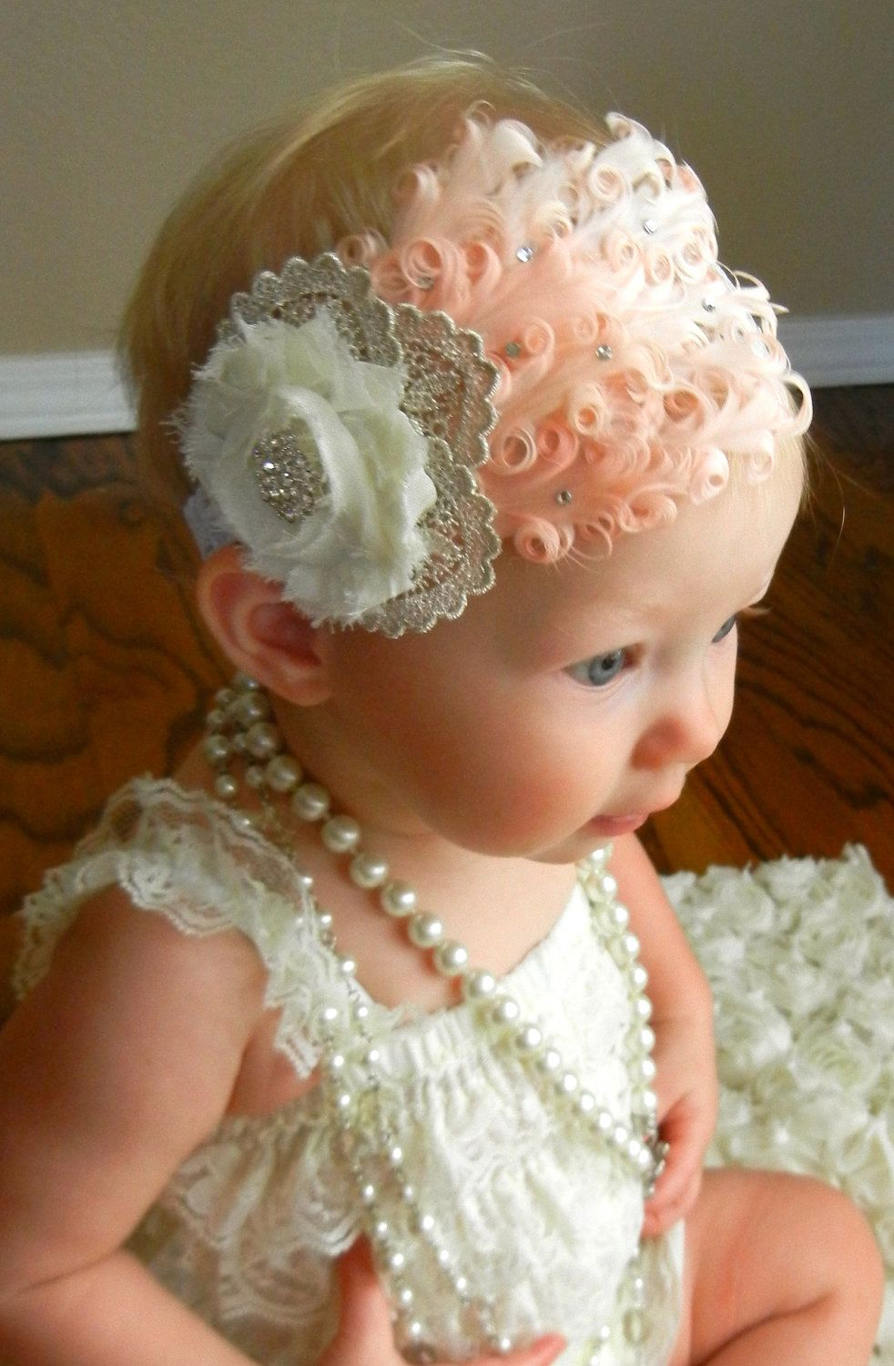 Baby Girl Accessories Infant,large flower Pearl//Crystal Headband