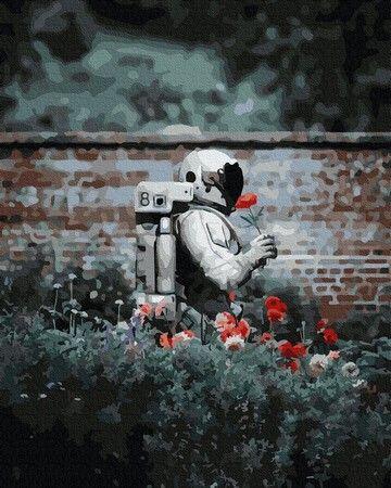 Картина по номерам Космонавт на клумбе ZX 23870 40x50 см ...