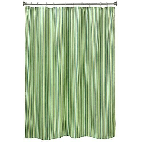 Lime Green Vertical Stripe Printed Shower Curtain Polyester Abstract Graphical