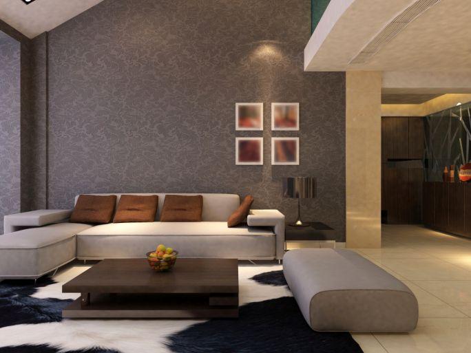 Dark Beige Living Room With Beige Sofa, Black And White Rug, Dark Brown  Coffee