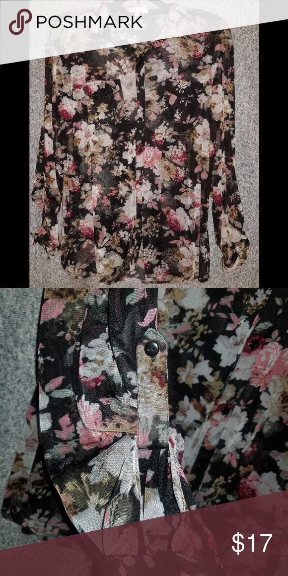 bc9ed667e Eden & Olivia Plus Sheer Black Floral Shirt, 1X Beautiful top! Can wear  sleeves down or buttoned up a bit. I wore this as a cardigan cover up over  tops.