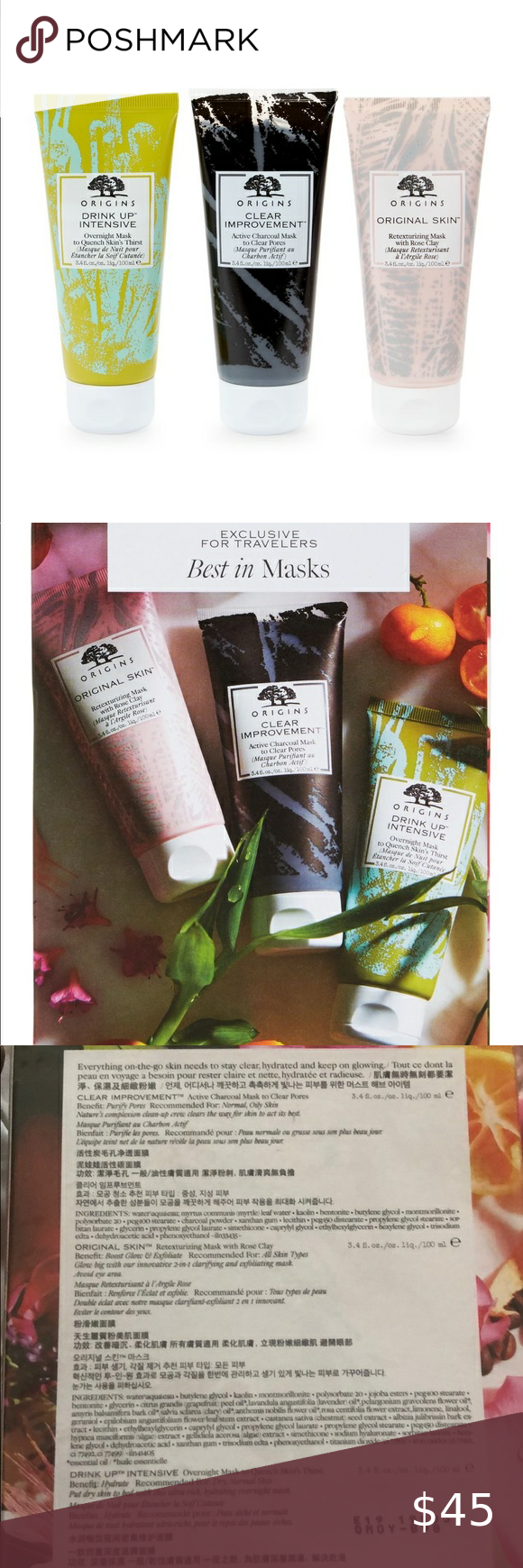 Origins Best In Face Masks 3 Piece Travel Set Each Mask Is 3 4oz Retexturizing Mask With Rose Clay B In 2020 Charcoal Mask Benefits Skin Drinks Active Charcoal Mask