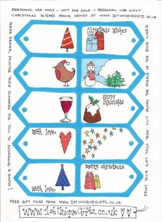 free downloadable Christmas gift tags  hand drawn by me