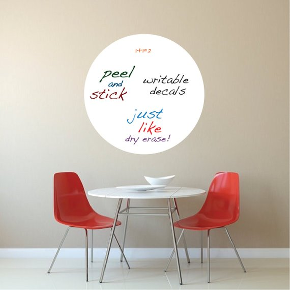 round dry erase wall decal, writable wall decal stickers - removable