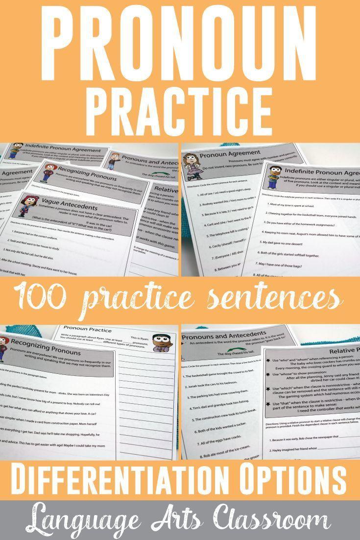 Workbooks high school language arts worksheets : Pronoun Workbook: Personal, Indefinite, Relative, Demonstrative ...