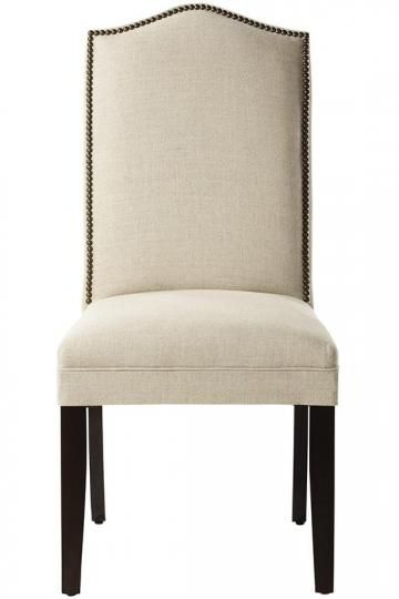 Custom Camel Back Parsons Chair With Nailhead Trim