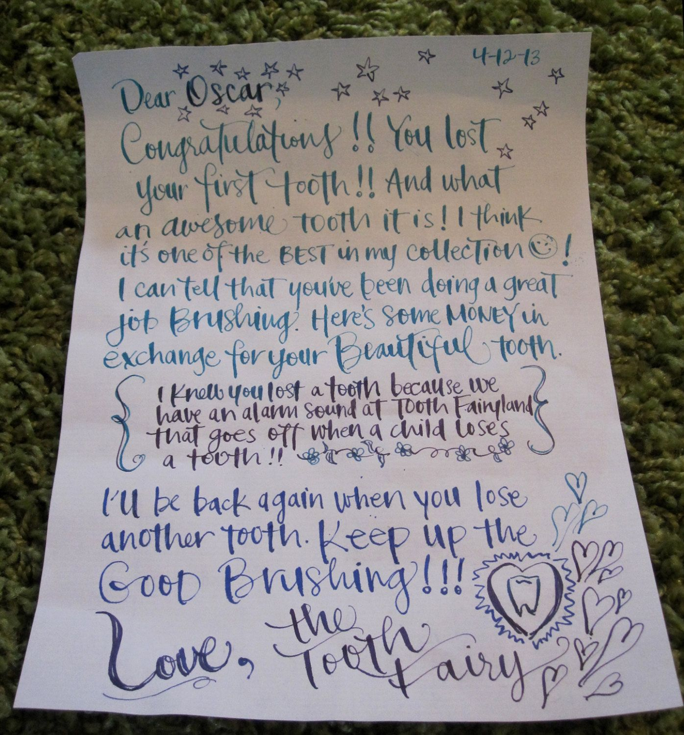 Personalized tooth fairy letter in calligraphy for child 39 s for Fairy letters to child