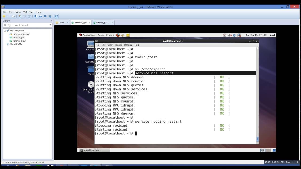 Nfs Configuration On Redhat Linux Using Vmware Workstation With