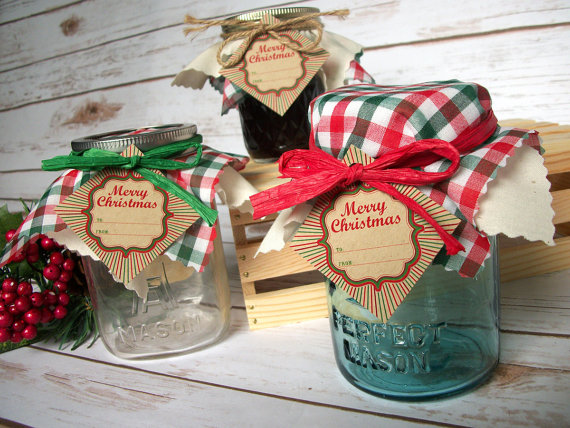 Christmas Cloth Jar Covers Name Tags Ribbon For Ball Mason Canning Jars Holiday Gift Jars Mason Jar Christmas Gifts Mason Jar Gifts Christmas Mason Jars
