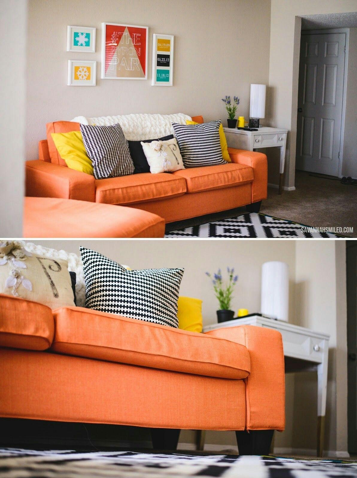 Pin By Heidi Love On Un Pan Bajo El Brazo Orange Sofa Ikea Sofa Bed Small Couches Living Room