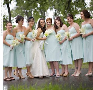 Angela S Bridesmaids Wore Strapless Sea Mist Blue Tea Length Dresses And Carried