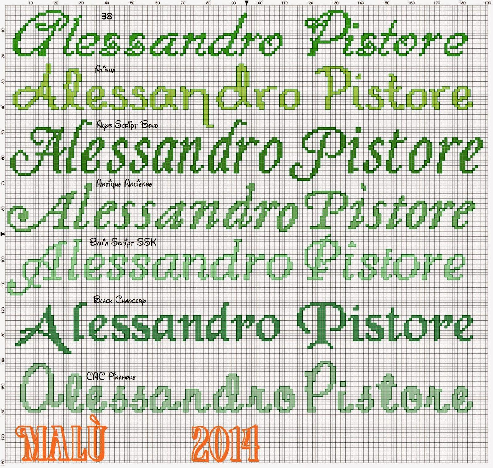 Risultati immagini per nomi punto croce elena t for Nomi in corsivo gallery