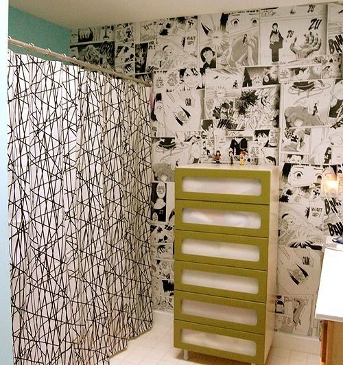 Manga Wallpaper In A Bathroom Pretty Awesome