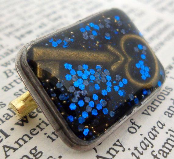 Blue Glitter Key Resin Brooch  Handmade Watch Case by wiggelhevin, $20.00