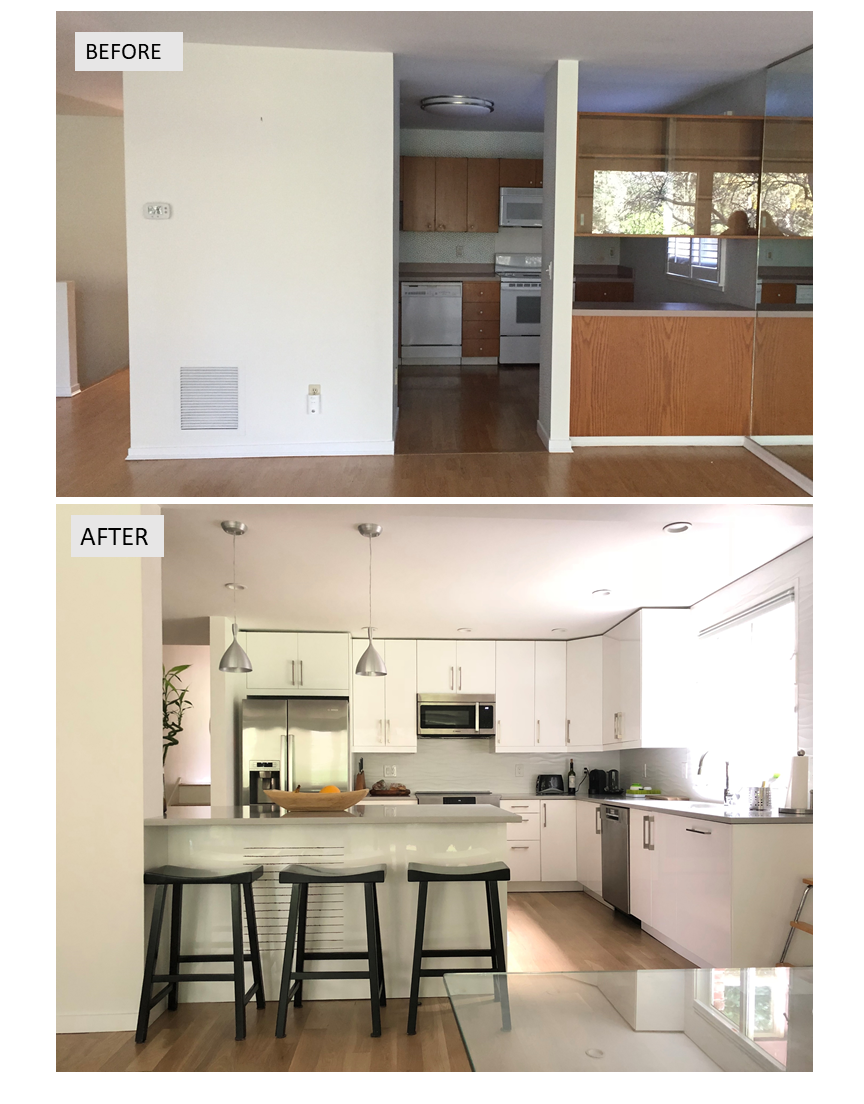 Pin it an outdated kitchen gets  complete remodel before after interiors also and rh pinterest
