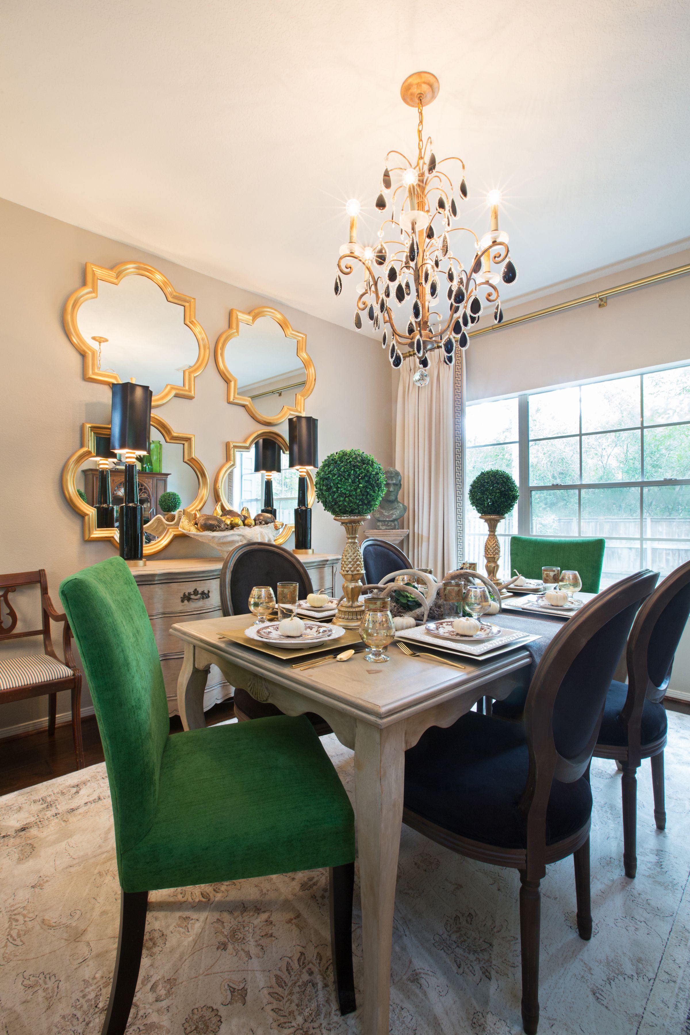 Amanda Carol Interiors Emerald Green Gold Mirrors Weathered Wood Dining Table Restoration Hardware St Gold Dining Room Green Dining Room Green Dining Chairs