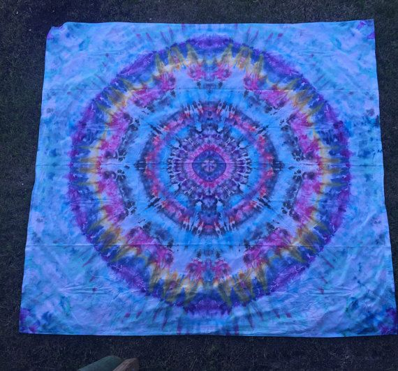 """Underwater Mystery"" - Check out this item in my Etsy shop https://www.etsy.com/listing/262477000/mandala-tie-dye-sheet-tapestry"