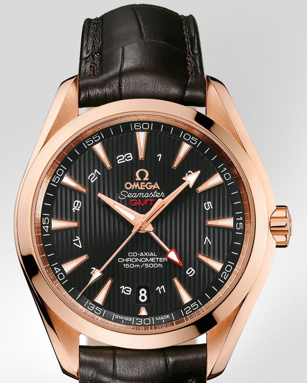 Omega Watches Seamaster Aqua Terra 150 M Gmt Red Gold On Leather Strap 231 53 43 22 06 002 Omega Aqua Terra Omega Omega Co Axial