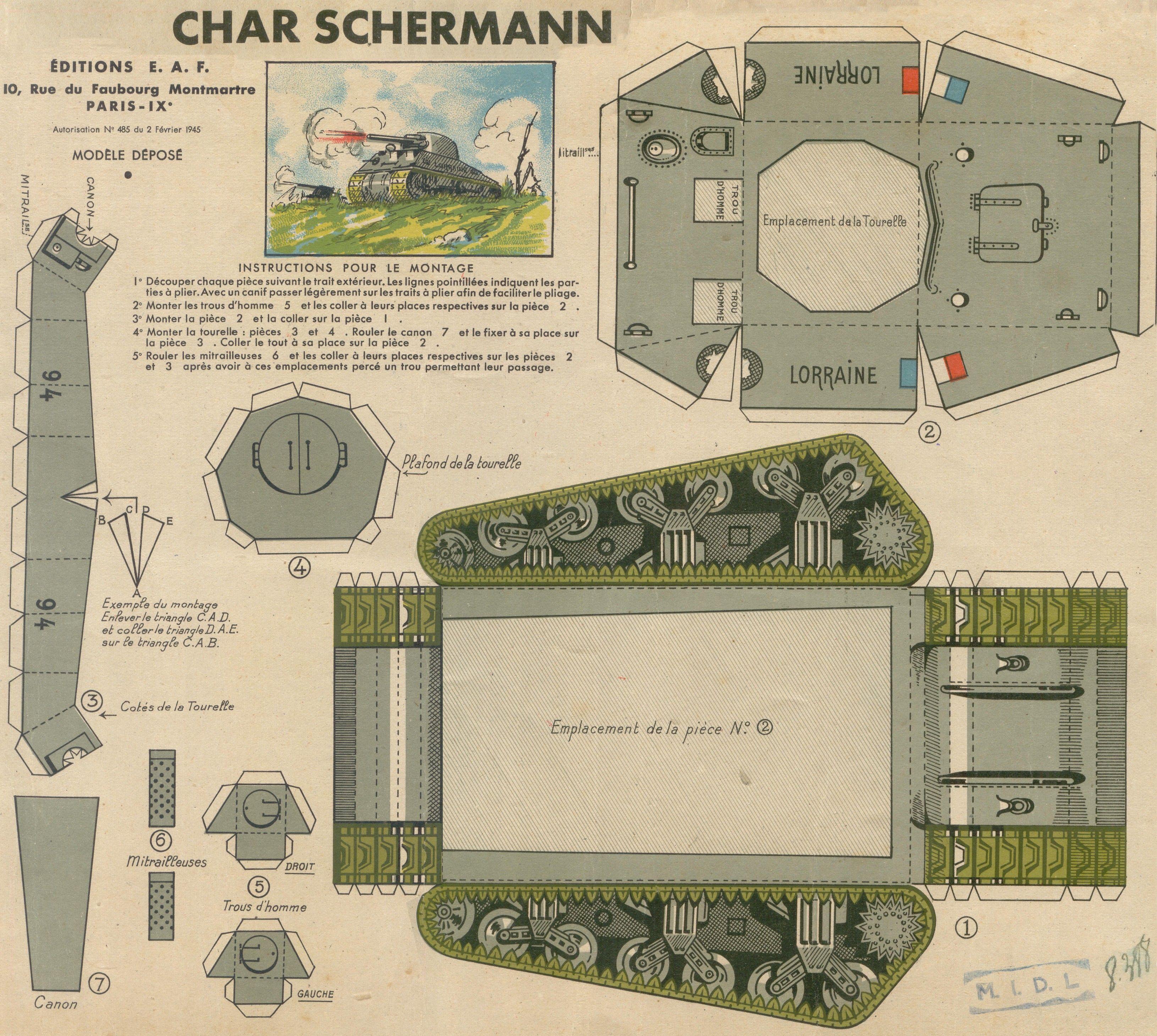Char Schermann Sherman Tank Paper Toy Paris 1945