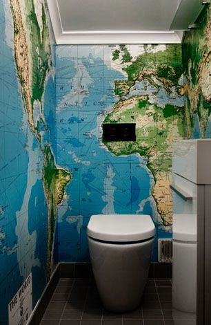 Does this large scale world map wallpaper overwhelm this small does this large scale world map wallpaper overwhelm this small bathroom why yes is it still super cool certainly gumiabroncs Images